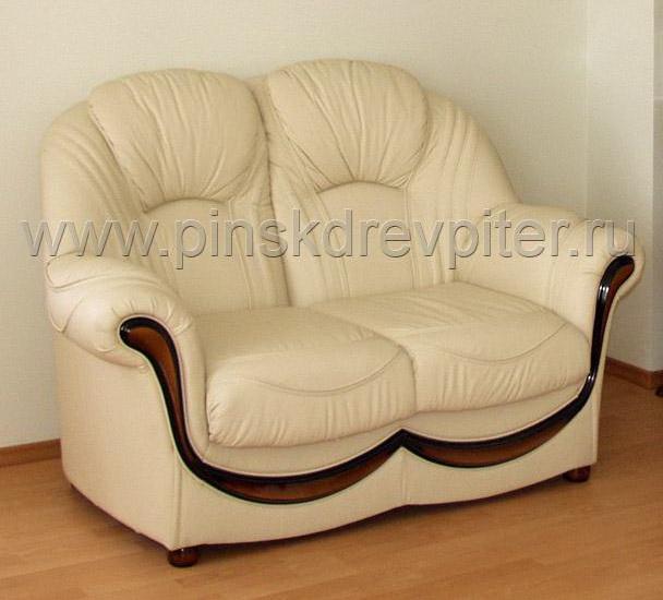 Двухместный диван Дельта в белой коже